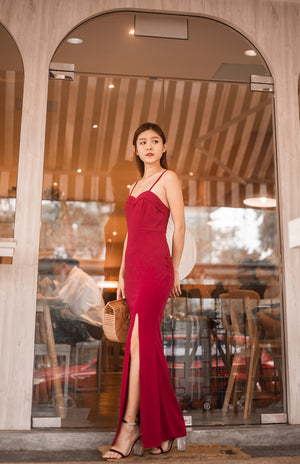 Load image into Gallery viewer, * LUXE * Dinxea Slit Gown Dress in Burgundy