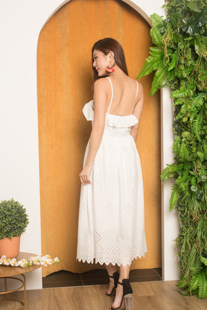 Load image into Gallery viewer, *LUXE* Mekda Midi Crochet Dress in White