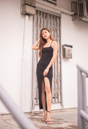 * LUXE * Wenna Slit Gown Dress in Black