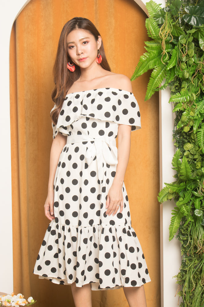 Verfon Vintage Polkadot Dress in White