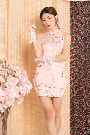 Chuning Floral Cheongsam Dress in Pink