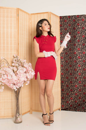 Fuman Cheongsam Dress in Red