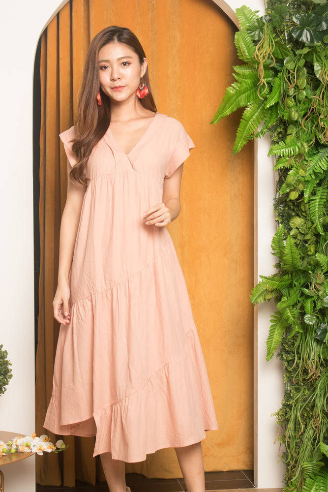 Serfina Flare Layer Dress in Pink