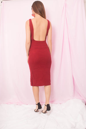 Geena Knit Low Back Dress in Burgundy