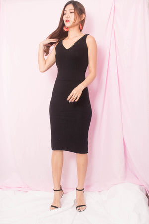 Geena Knit Low Back Dress in Black