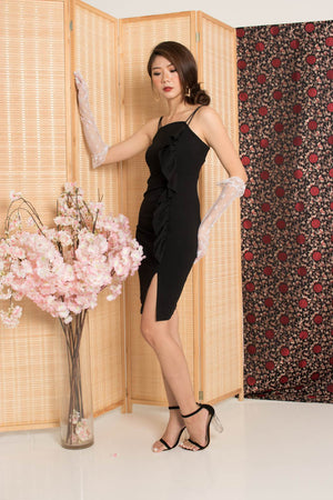 * PREMIUM* - Giolia Flutter Double Straps Dress in Black - Self Manufactured by LBRLABEL