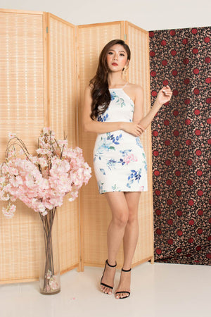 * PREMIUM * - Sinalia Halter Floral Dress in Blue - Self Manufactured by LBRLABEL
