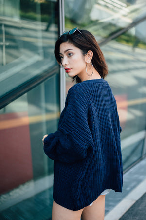 Giselle Knit Oversized Cardigan in Navy