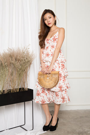 Katherine Floral Layer Dress in White
