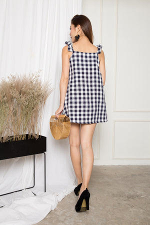 Stephine Gingham Dress in Navy