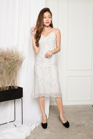 LUXE - Daisy Crochet Dress in White