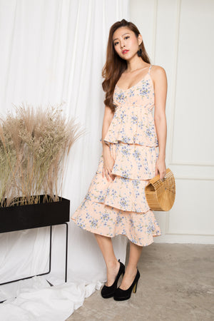 Katherine Floral Layer Dress in Pink