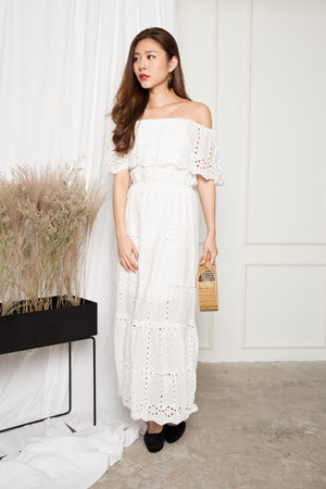 LUXE - Adalina 3 Ways Crochet Maxi Dress in White