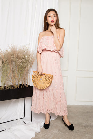 LUXE - Adalina 3 Ways Crochet Maxi Dress in Pink