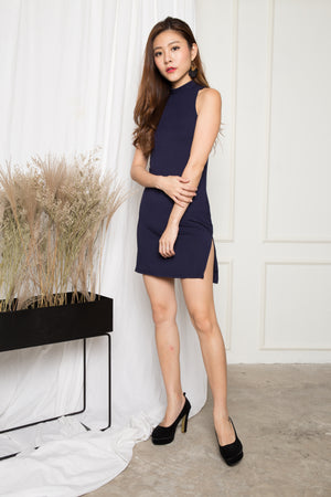 Sweeny Bodycon Halter Dress in Navy