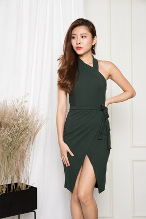 Gerri Slit Dress in Emerald