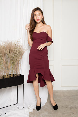 *PREMIUM* - ZECILIA OFF SHOULDER MERMAID DRESS IN BURGUNDY - LBRLABEL MANUFACTURED