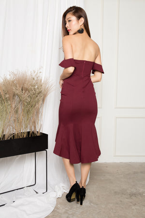(BO) *PREMIUM* - ZECILIA OFF SHOULDER MERMAID DRESS IN BURGUNDY - LBRLABEL MANUFACTURED
