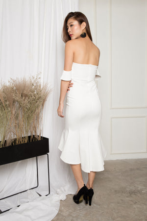 *PREMIUM* - ZECILIA OFF SHOULDER MERMAID DRESS IN WHITE - LBRLABEL MANUFACTURED