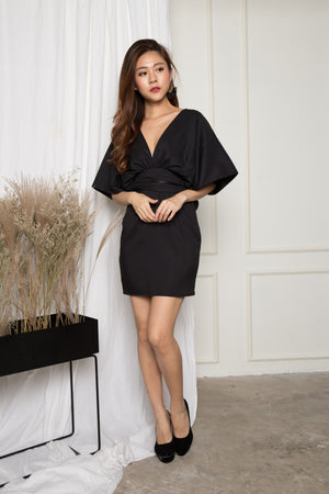 Jessica Flutter Sleeves Dress in Black