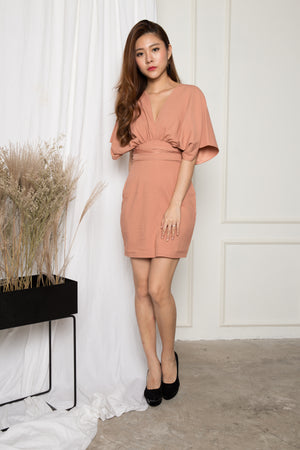 Jessica Flutter Sleeves Dress in Nude