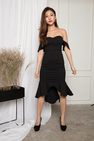 *PREMIUM* - ZECILIA OFF SHOULDER MERMAID DRESS IN BLACK - LBRLABEL MANUFACTURED