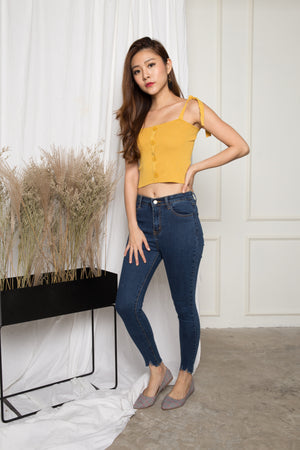 Penny Basic Button Down Top in Yellow