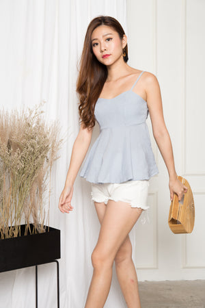 Ajora Gingham Babydoll Top in Blue
