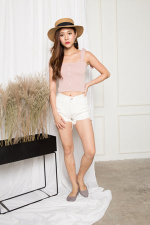 Penny Basic Button Down Spag Top in Pink