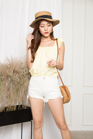 Rilee Flutter Sleeve Top in Yellow