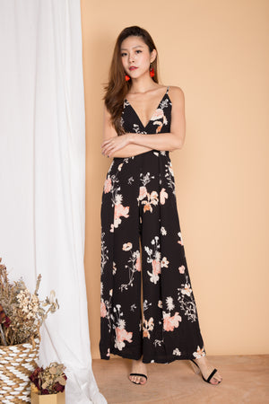 LUXE - Braylee Floral Jumpsuit in Black
