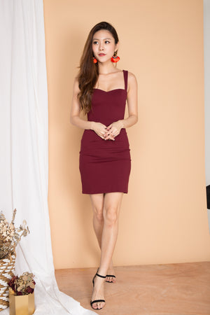 *PREMIUM* IVYLIA SWEETHEART BUSTIER DRESS IN BURGUNDY - LBRLABEL MANUFACTURED