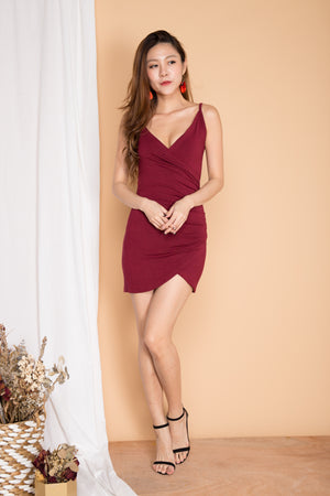 Kali Wrapped Bodycon Dress in Burgundy