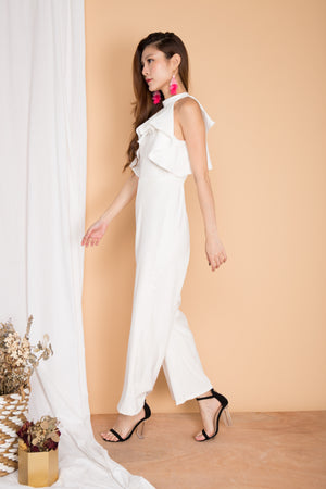 Pearlyna Flutter Jumpsuit in White