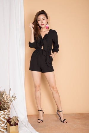 Courtney Ribbon Romper in Black