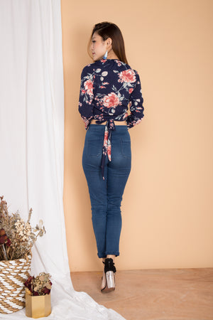 Avery Floral Flutter Top in Navy