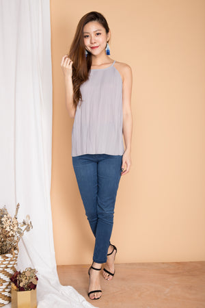Luna Pleated Top in Grey
