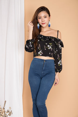 Merci Floral Toga Top in Black