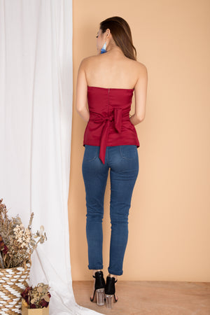 Margot Bustier Top in Burgundy