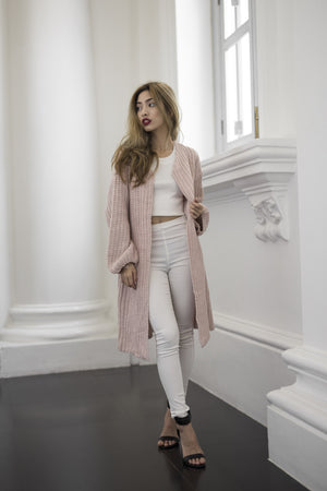 (BO) Sora Oversized Knit Outerwear in Pink