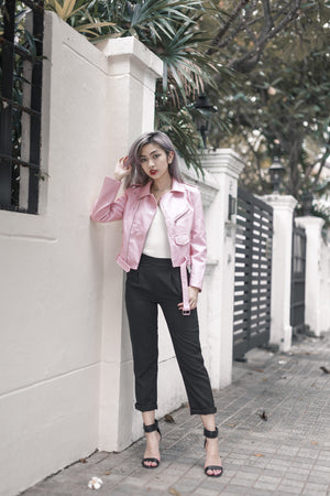 Juez Leather Jacket in Pink