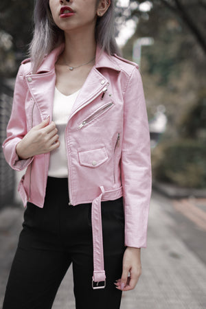 Load image into Gallery viewer, Juez Leather Jacket in Pink