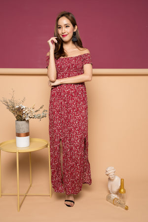 Sabri Floral Maxi Dress in Red
