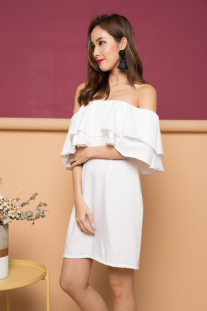 Ansalyn Off Shoulder Flutter Dress in White
