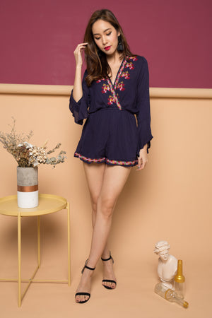 Siobhan Embroided Romper in Navy