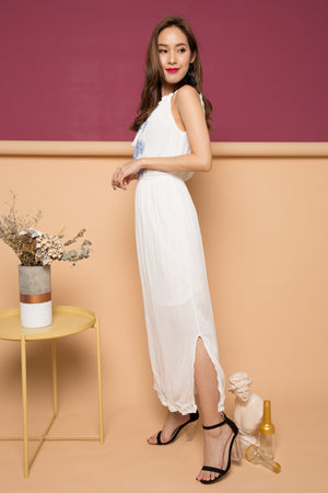 Mikaye Embroided Maxi Dress in White
