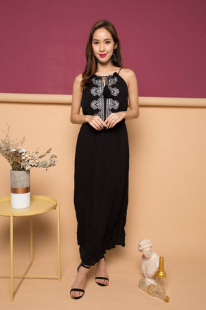 Mikaye Embroided Maxi Dress in Black