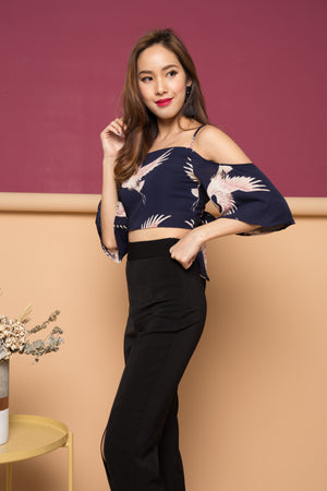 Justinna Printed Ribbon Top in Navy