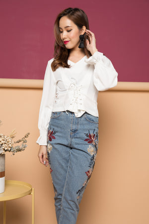 Axiea Laces Top in White
