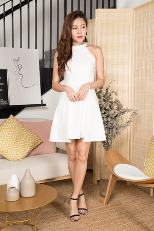 Shirley Halter Dress in White